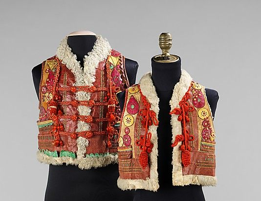 Vest.  Date: late 19th century. Culture: Slovak. Medium: leather, wool. Dimensions: Length at CB: 15 in. (38.1 cm).