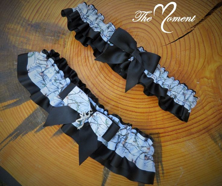 White Camo Garter Set Black Handmade