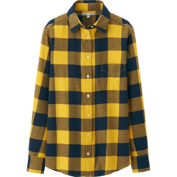 UNIQLO Women Flannel Check Long Sleeve Shirt (620 UAH) ❤ liked on Polyvore featuring tops, shirts, flannels, camisas, yellow, flannel shirts, button down shirts, long sleeve button down shirts, button up shirts and yellow top
