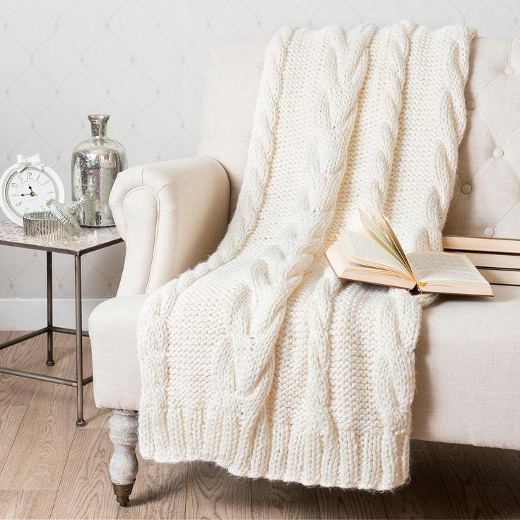 Maison du monde Plaid tricoté blanc cassé 130 x 170 cm OSLO 99,99 €