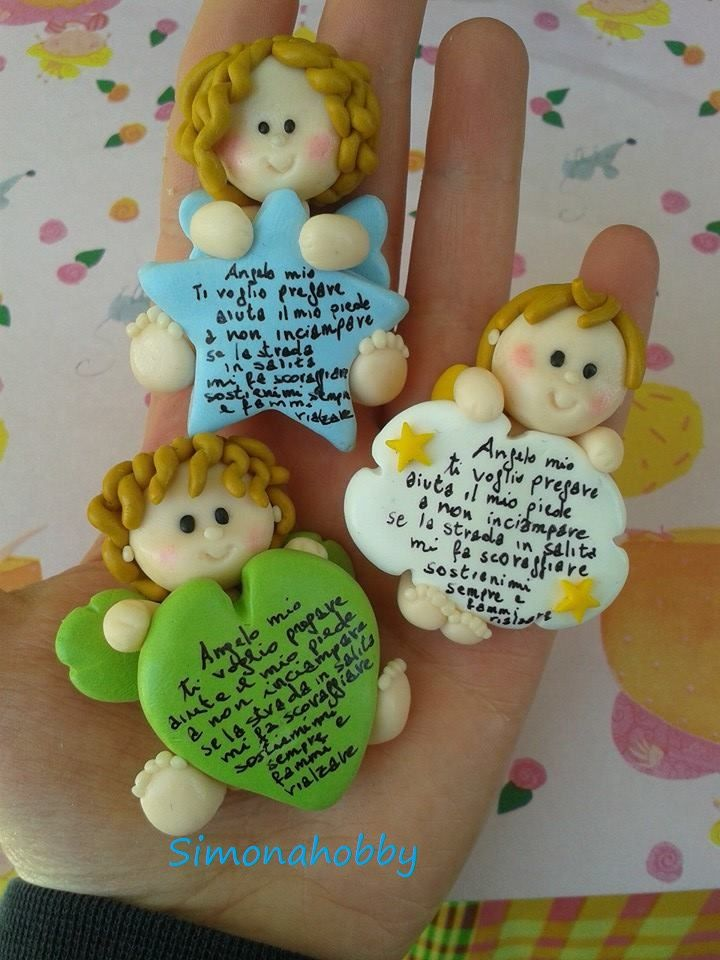 fimo polymerclay bomboniere handmade calamite angeli