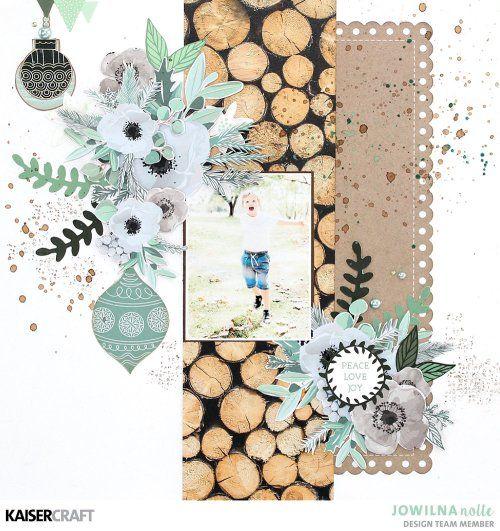 Beautiful October 2017 Kaisercraft Collections. 'Peace Love Joy' Layout by Jowilna Nolte DT member for Kaisercraft using 'Mint Wishes' collection. Learn more at kaisercraft.com.au/blog - Wendy Schultz - Kaisercraft Layouts.