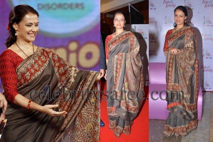 Amala in Grey Kalamkari Saree | Saree Blouse Patterns