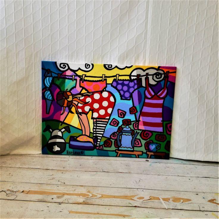 Colorful Landscape , Pop Art, Pop Art Painting, Landscape Pop Art ,Laundry Line Painting, Neo Pop Art, Original Painting, Colorful Pop Art by MevrouwHartman on Etsy