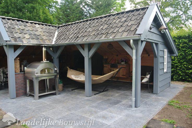Kapschuur in hoekmodel landelijke bouwstijl idee n voor het huis pinterest fire pits - Outdoor patio ideeen ...