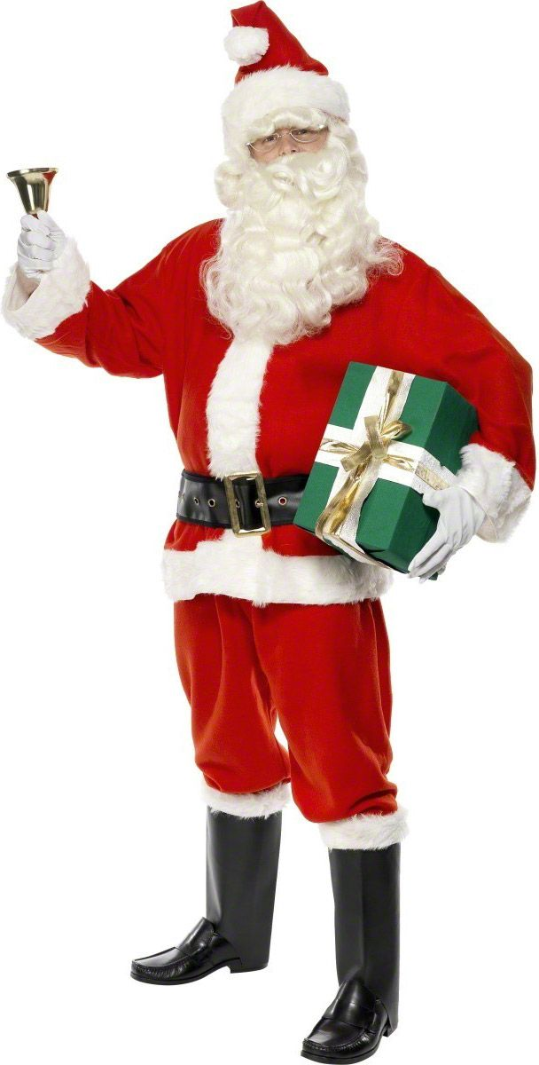 Luxury Santa costume for boys: This deluxe Santa costume for men consists of a Velcro strip jacket, elastic waistband trousers, a big belt, boot tops of imitation leather, gloves, and a hat. Based on Santa's real costume, with...