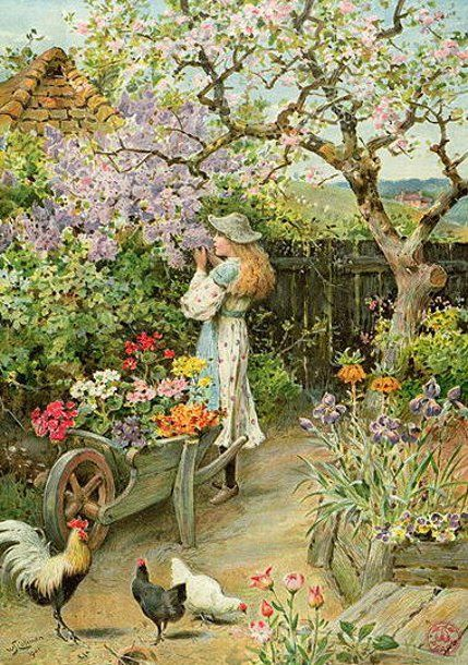 """Spring Blossoms in """"An English Cottage Garden"""" - William Stephen Coleman"""