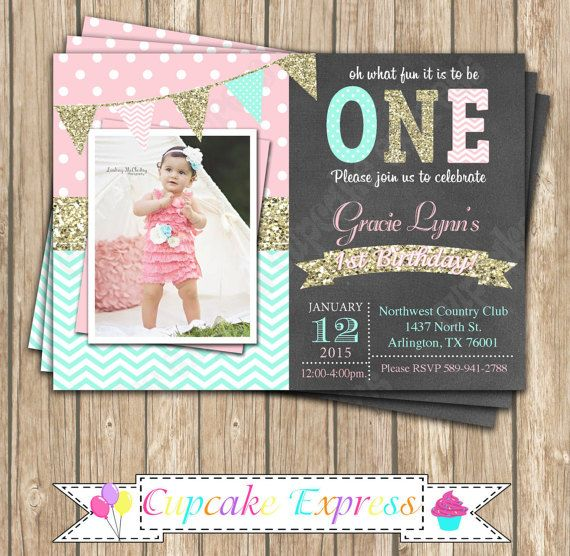 One First Birthday girl coral pink  mint gold PRINTABLE chalkboard Invitation #10  chevron polka dot glitter 1st birthday - 1031