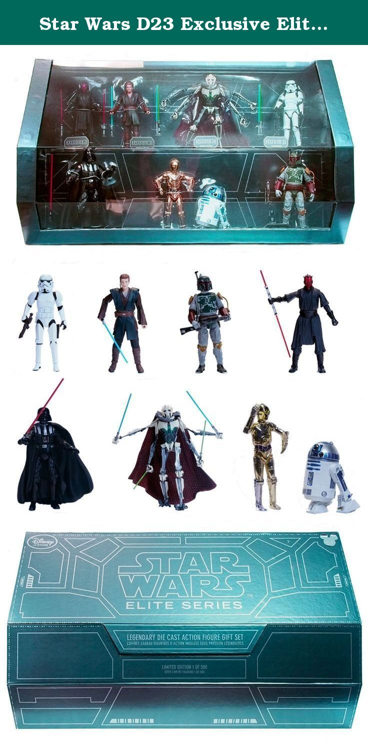 Star Wars D23 Exclusive Elite Series Limited Edition Set of 8 Die Cast Figures. This set of 8 Disney Elite Star Wars die-cast figures includes the limited edition run of 6 figures that were released during fall of 2015 in individual packages through the Disney Store, as well as 2 additional figures (R2D2, C3PO) that are unique to this set and not otherwise available to the general public. The figures were released to commemorate each Star Wars movie: - The Phantom Menace: Darth Maul...