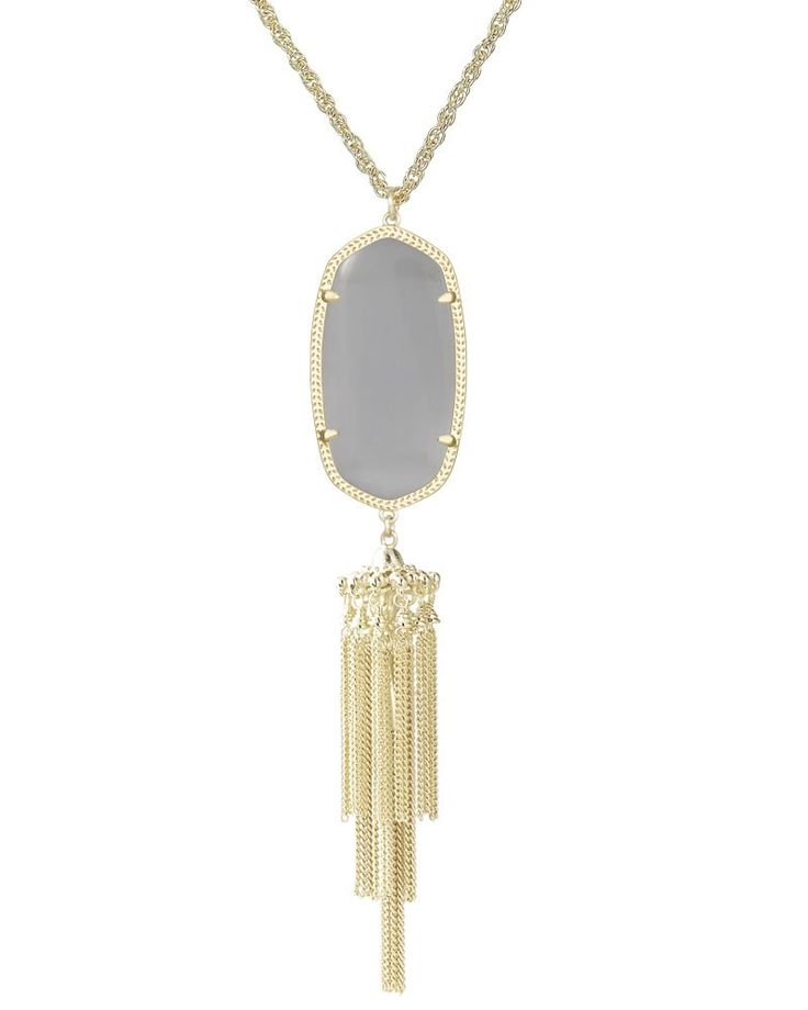 Rayne Pendant Necklace in Slate - The Rayne Necklace is a fun, long gold necklace with a slate gray oval stone and gold tassel that spruces up any every day outfit