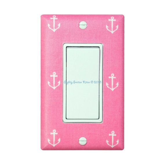 Welcome to Slightly Smitten Kitten! My light switch plates and outlet covers have gotten rave reviews and are a wonderful and creative way to add the perfect finishing touch to your child's room or baby nursery! Standard sized rocker/deocra light switch plate cover plate with awesome blossom pink anchor fabric from Michael Miller's Out to Sea line. Would look great in a nautical or pirate themed nursery, kids room, or bathroom! This listing is for one rocker style light switch plate ...