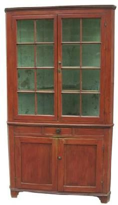 Y300 Early 19th century Hagerstown,Maryland, two piece Corner Cupboard.  Red painted two piece sixteen  window lights, with old wavie glass.Dovetailed drawer in the center