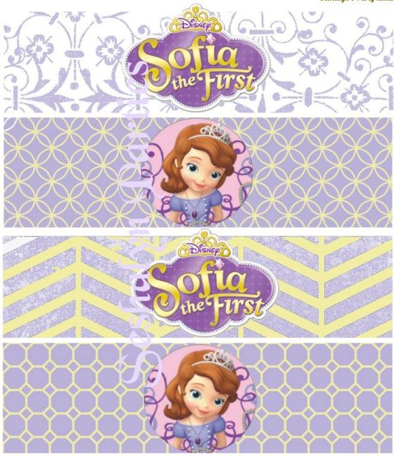 Sofia the first free water bottle labels