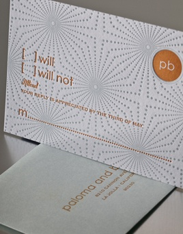STARLIGHT | Umi 2, Letterpress Reply Cards | Elum Designs, Letterpress Stationery, Invitations & Curator of Designer Paper Goods. Nothing short of small works of art. Orange and blue, retro, effervescent design, charismatic,  mid-century style pattern, modern, rsvp