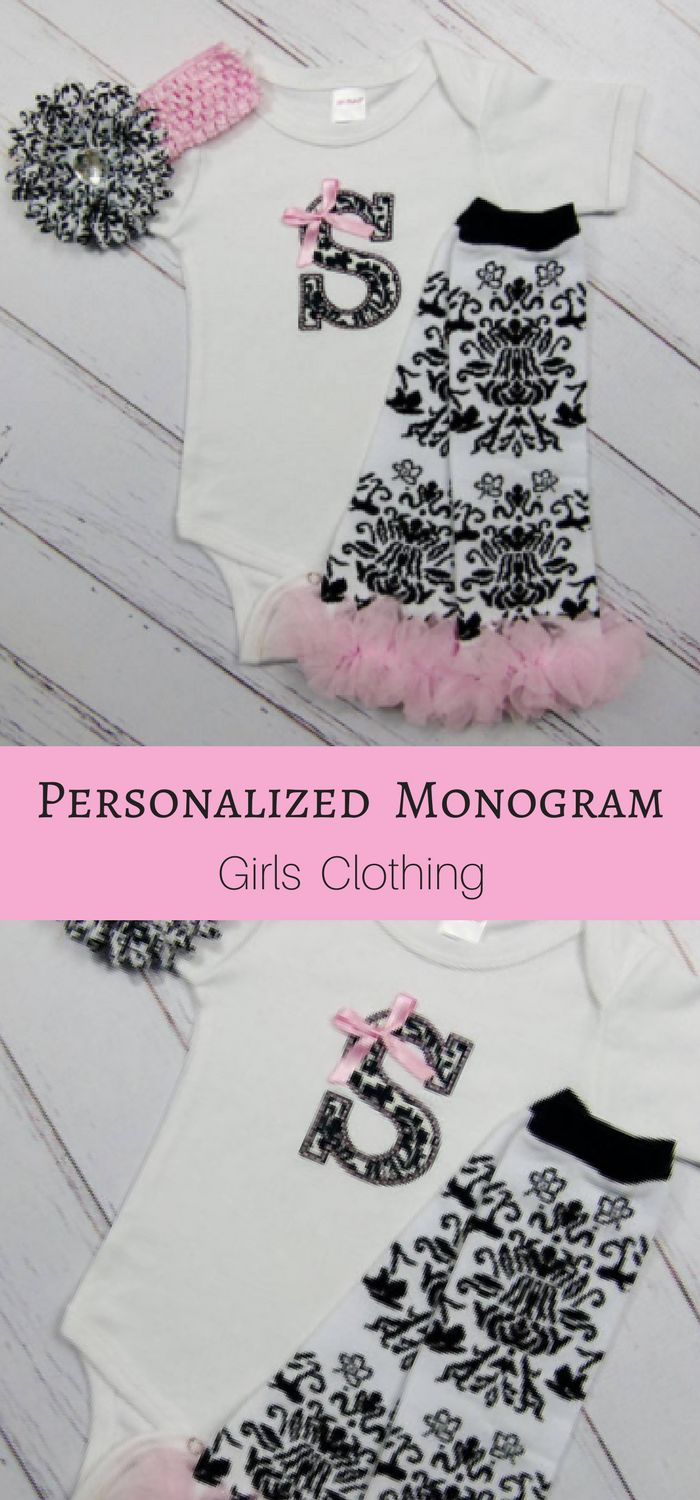 Adorable Hot Pink & Black Damask Monogram Personalized Baby Girl Clothes Gown Bodysuit Leg Warmers Headband Options New Baby Outfit Gift Set. Perfect outfit for little girls outing. Gift idea for baby shower, birthday, new baby outfit. #babygirls #fashion #outfits #ad #toddlerlegwarmersoutfit