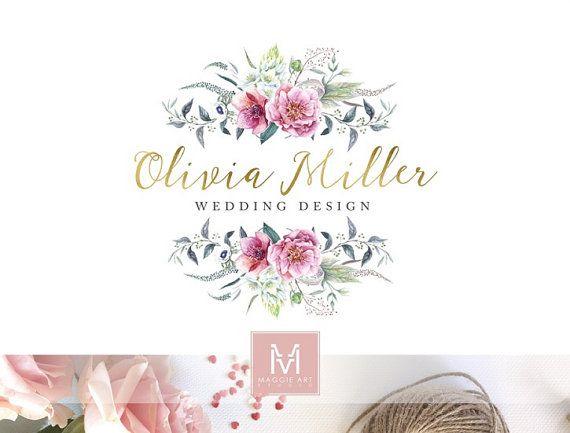 Floral Logo ,Romantic Logo, Watercolor Logo, Peonies Logo, Photography Logo, Boutique Logo ,Shabby Chic Logo, Watermark