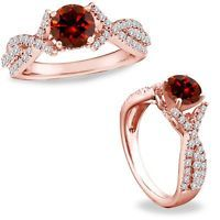 1 Ct Red Color Diamond Crossover Solitaire Halo Promise Ring Band 14K Rose Gold
