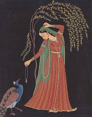 Radha-1 ~ a Mughal painting I'd be interested in an exact date on this one.
