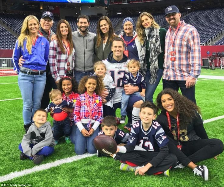 Patriots quarterback Tom Brady shared a family photo following Sunday's Super Bowl win, captioning it 'It takes a team. And so much love'. The photo features in the back row from left Brady's sister Julie, father Tom Brady Sr, sister Maureen, brother-in-law Steve Bonelli (Nancy's husband), sister Nancy, mother Galynn, wife Gisele Bundchen and brother-in-law Kevin Youkilis (Julie's husband). Center, in Brady's arms are daughter Vivian (left) and nephew Jeremy. In the front row, from left are…