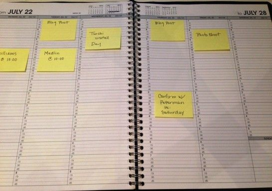 Calendar moving post-its around while planning your blog posts and schedule clever from Jennifer Reynolds Interior Designer
