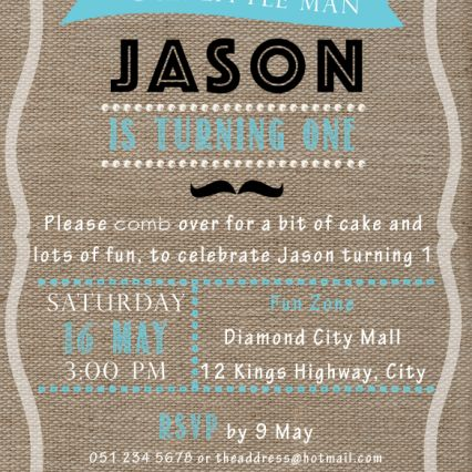 First Birthday party invitation, burlap background. Little Man theme. Theme color used in this example is turquoise