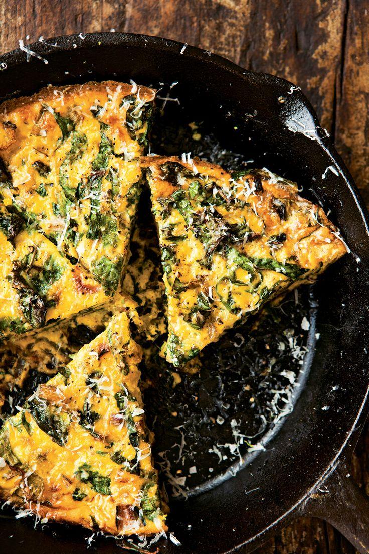 Swiss Chard & Onion Frittata #vegetarian #recipe