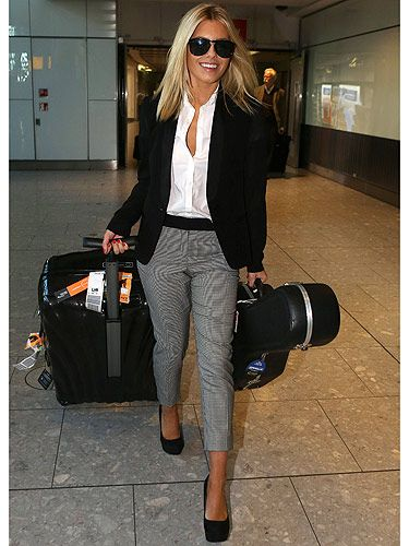 Mollie King airport style cropped trousers, white shirt, black blazer