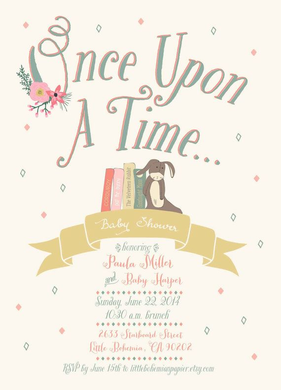 Build-a-Library // Baby Shower Invitation by LittleBohemianPapier