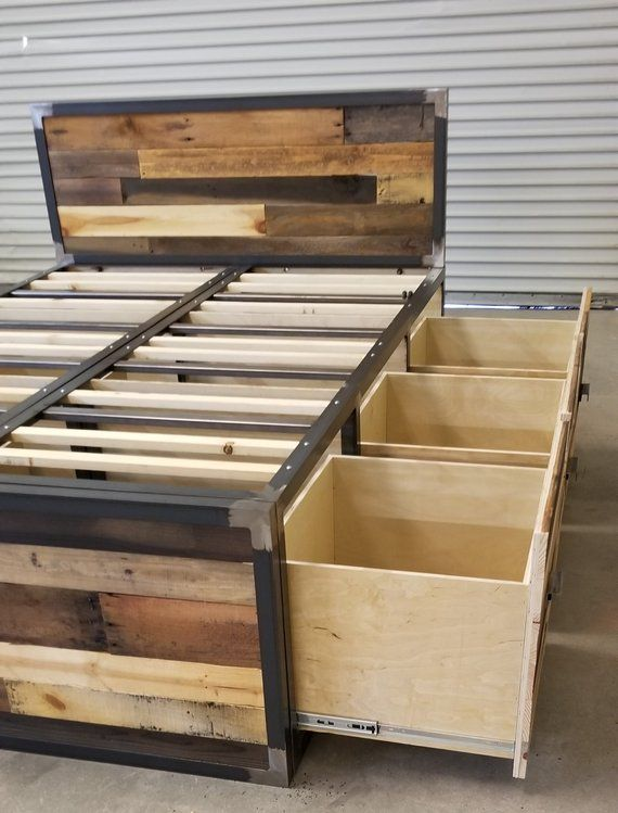 Industrial Platform Bed Reclaimed Wood Storage Bed Farmhouse Rustic Wood Bedframe Industrial Bedroom Furniture King Queen Full Twin Diy Platform Bed Diy Storage Bed Industrial Platform Beds Rustic bed frame with storage