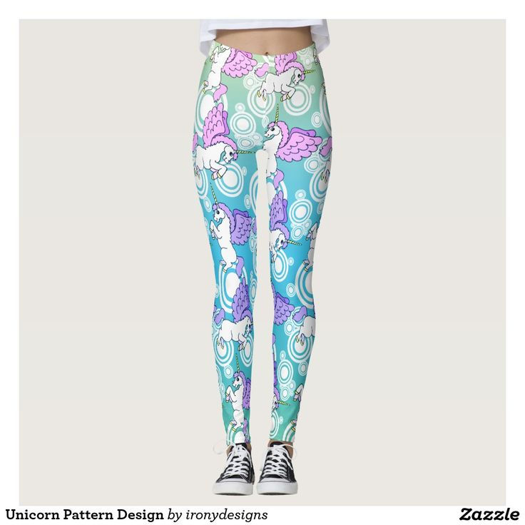 Unicorn Pattern Design Leggings / Yoga Pants. Cute White Unicorn graphic with Pink hair and wings with a pattern of Unicorn background in gradient with pink, purple, blue and green colors. #unicorn