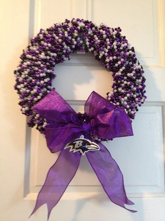 Baltimore Ravens Wreath by LimeABeads on Etsy, $45.00