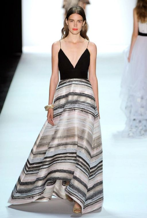 NYFW SS16: Badgley Mischka #Maxidress #stripes #earthy #catwalk