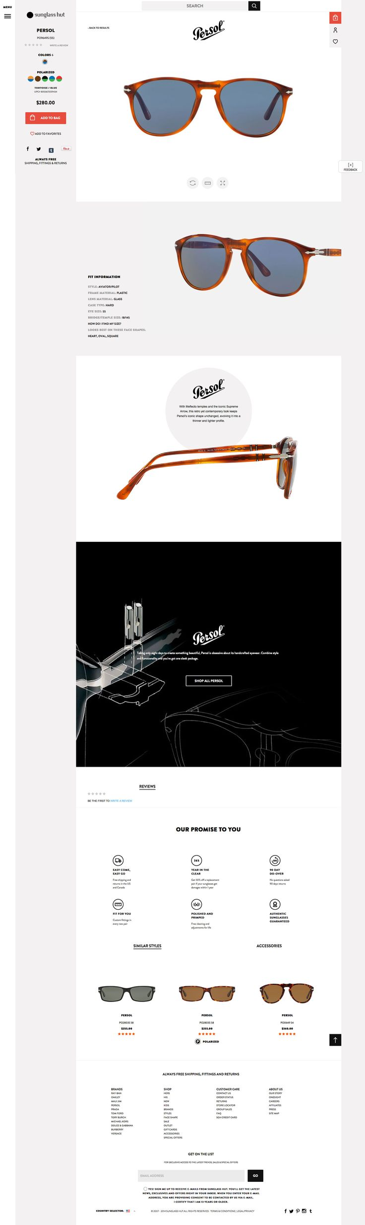Sunglass Hut Desktop Product Page - http://www.cartrepublic.com/gallery/2014/11/sunglass-hut-desktop-product-page/
