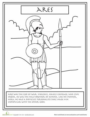 Second Grade Fairy Tales History Worksheets Greek Gods Ares