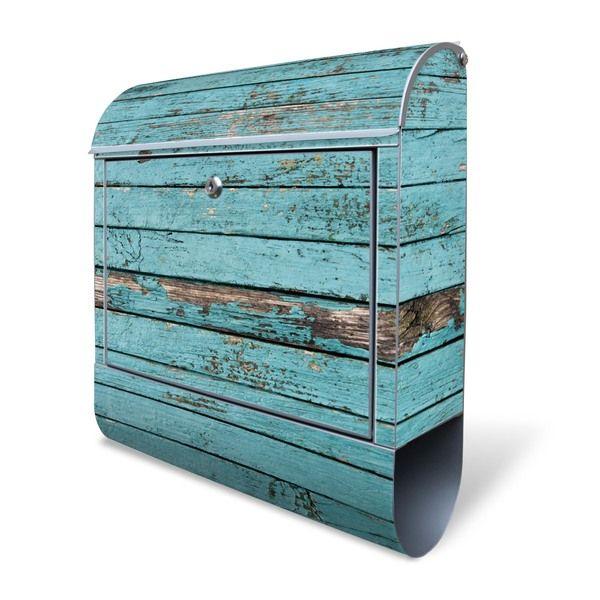 Briefkästen - Großer Edelstahl Briefkasten Blaue Holzlatten - ein Designerstück von banjado bei DaWanda