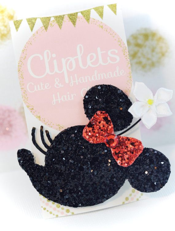 Minnie Mouse Inspired Hair Clip Glitter brooch Cliplets