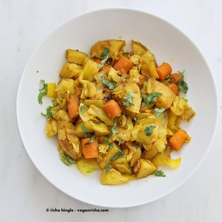 Atakilt Wat - Ethiopian Cabbage Potato Carrots. Easy spiced side full of amazing flavor. free of Dairy, egg, corn, soy, yeast, nut, gluten, grain.