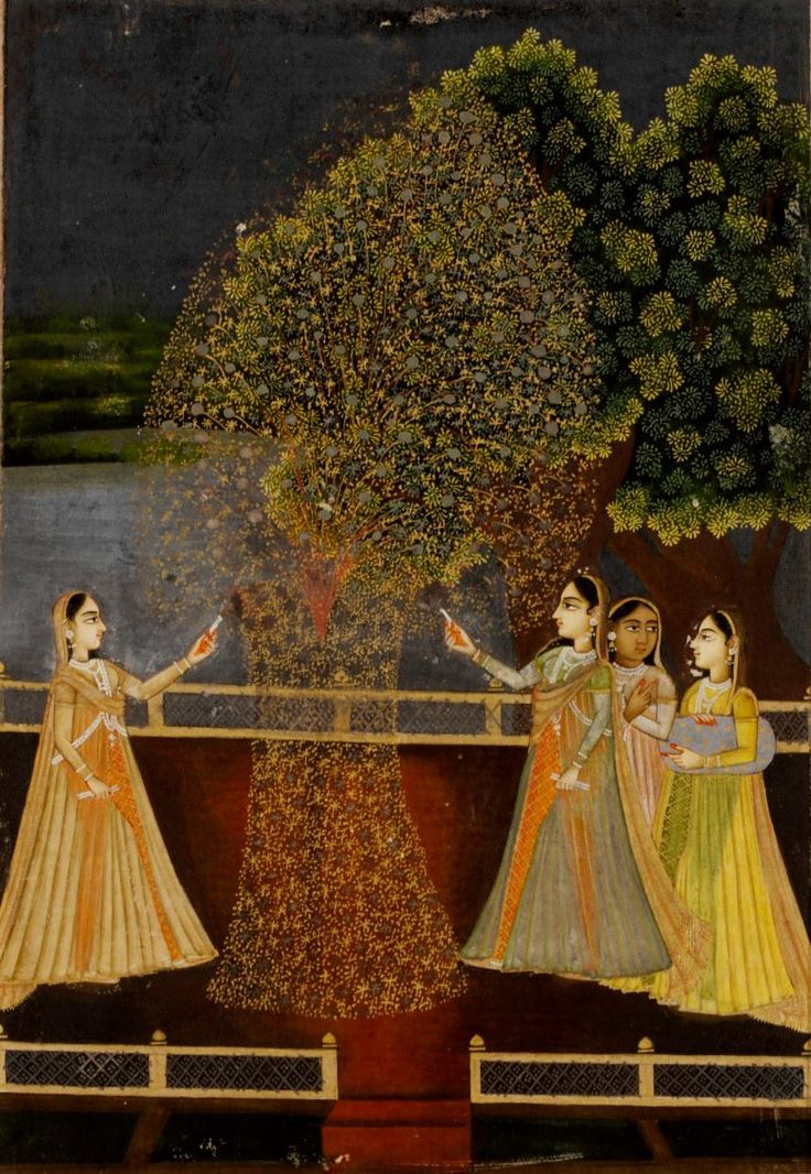 Rajasthani ladies lighting fireworks during Diwali, opaque watercolour and gold on paper, Rajasthan, 18th century.