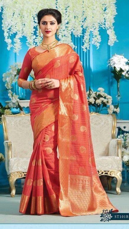 wedding Wear tussar Saree Indian ethnic zari blouse Bollywood bridal silk Sari  #Handmade #saree
