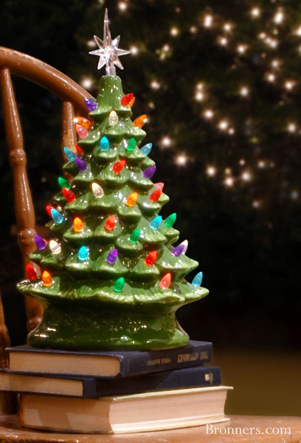 "Add a festive glow to your holidays with this beautiful ceramic Christmas tree with lights. Glistening with soft green glazes, our nostalgic design is illuminated by a single C7 bulb that shines through a multitude of multi-colored acrylic ""lights"" and is topped with a clear acrylic star. Measuring 14½"" tall with the star topper, this tree-mendous display includes a 56"" cord with convenient on/off switch. Bulb included. UL listed."