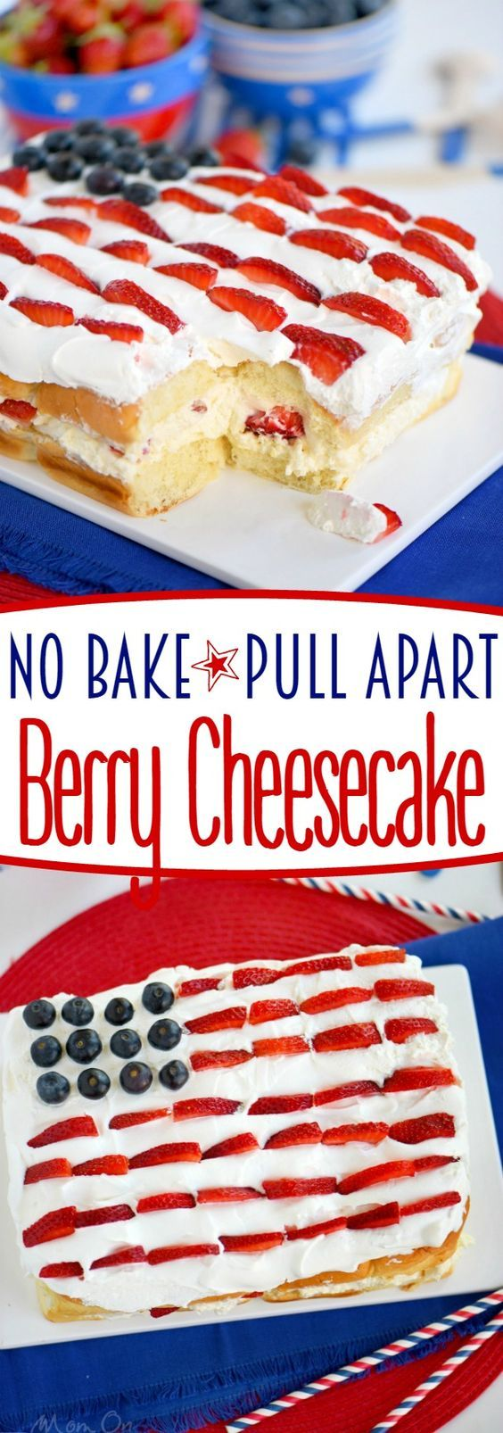 This delightful No Bake Pull Apart Berry Cheesecake takes about 10 minutes to make - start to finish! A delicious and easy dessert recipe that's perfect for the 4th of July and all your BBQ and potluck needs!
