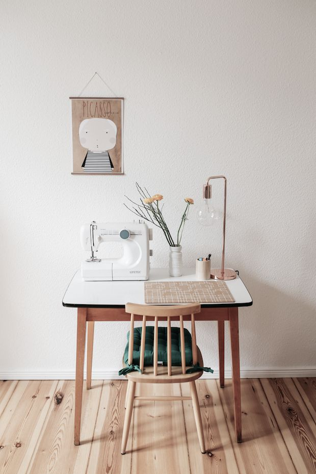 A cute sewing spot in fab mid-century inspired home in Berlin. Herz & Blut. My Scandinavian Home.