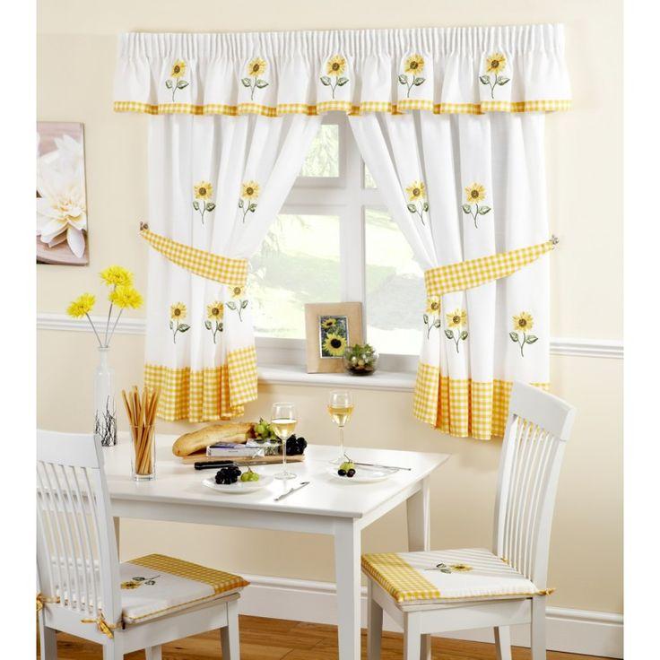 "Sunflower Pencil Pleat Kitchen Curtains 66"" x 48"""