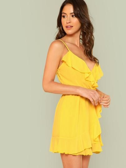 a323fe1663 Shop Surplice Neck Overlap Ruffle Trim Cami Dress online. SheIn ...