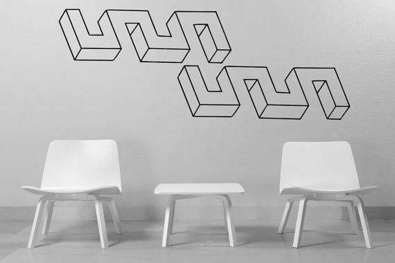 Optical Illusion Weird Meanders vinyl wall decal by cutnpasteshop, $50.00
