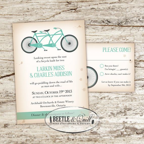 Bicycle Built for Two Printable Wedding by beetleandquill on Etsy, $50.00- The tandem bike is such a cute idea