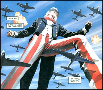Uncle Sam prepares to defecate all over the career of Alex Ross and Steve Darnall--the bombing metaphor is obvious.