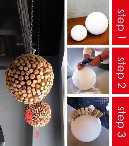 DIY: decorative hanging ball of wine corks. (Good option for outdoor/weather-proof decore)