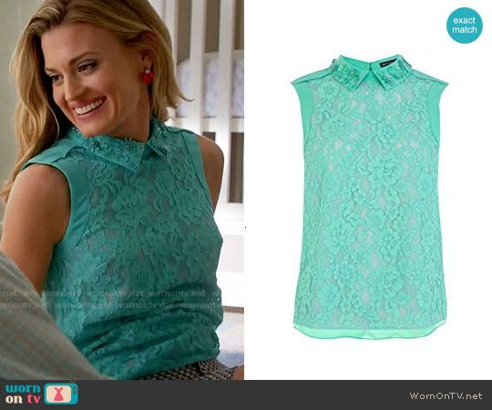 Paige's green collared lace top on Royal Pains.  Outfit Details: https://wornontv.net/58511/ #RoyalPains
