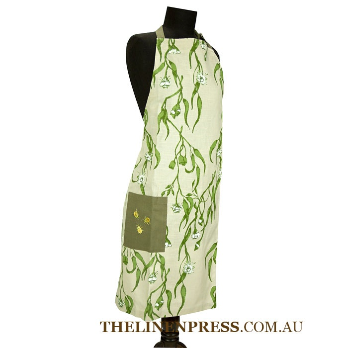 #Eucalyptus & Christmas Beetle apron with adjustable neck strap made with certified unbleached #organic cotton. Screen printed with water based dyes. Repeat Print with machine embroidery detail. Our packaging uses recycled board and is printed with soy inks. $29.95 #eco #accessory #kitchen #gifts